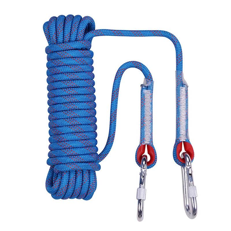 Corde d'escalade professionnelle de 10mm x 20 m avec 2 crochets corde de sauvetage extérieure corde de sécurité randonnée rayé boucle survie