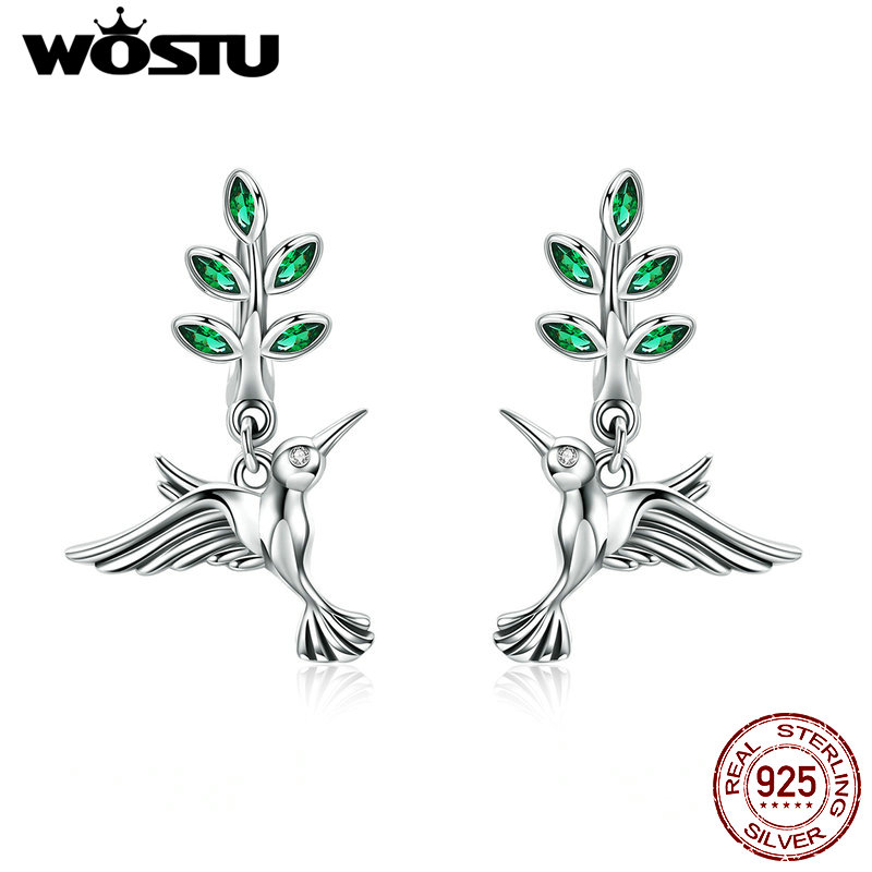 925 Sterling Silver Kingfisher Stud EarringsEnamel /& Cubic Zirconia