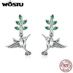 Wostu 100% real 925 sterling silver green leaves & birds brincos para as mulheres aniversário floresta estilo fresco jóias presente cqe464