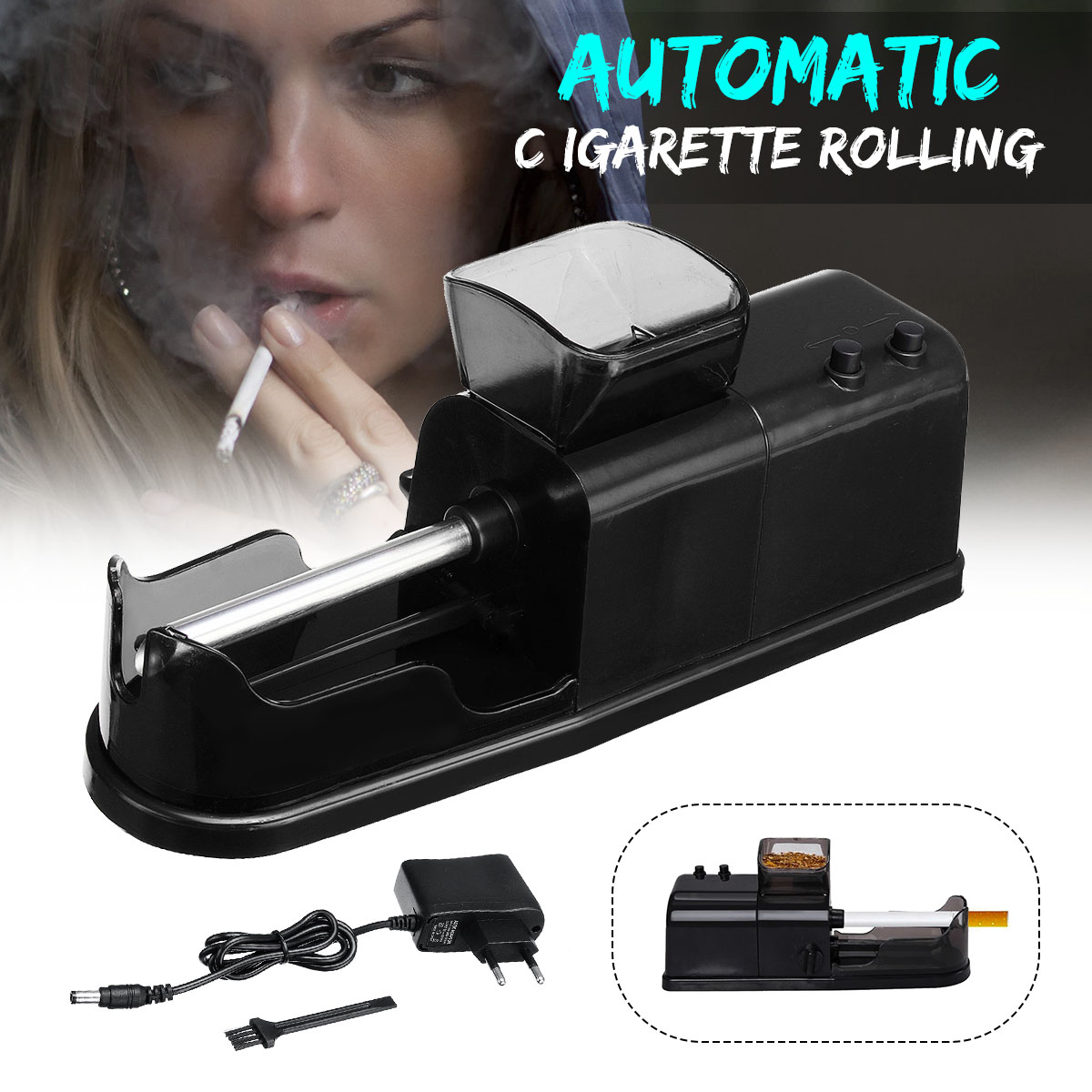 1pc Electric Easy Automatic Cigarette Rolling Machine Injector With Function Credibility Adapter Tobacco Maker Roller