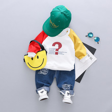 Spring Autumn Baby Girl Boys Clothing Infant Clothes Suits Fashion Letters T Shirt Jeans 2pcs/sets Casual Kids Children Costume цена 2017