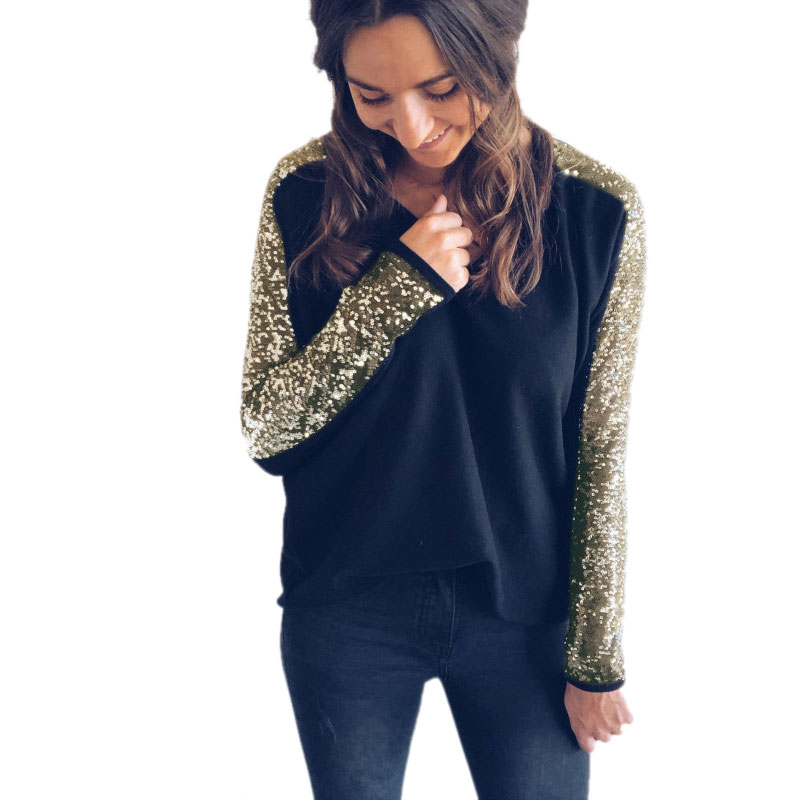 MYTL-Women Fashion V Neck Splice Sequins T Shirt Ladies Autumn Casual Long Sleeve Pullover Tops