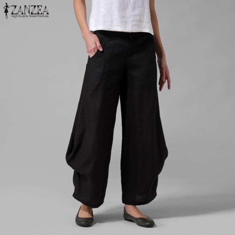 100% Wahr Zanzea 2019 Mode Breite Bein Hosen Frauen Elastische Taille Arbeit Hosen Weiblichen Rüschen Pantalon Palazzo Femme Solide Rübe Hosen 5xl