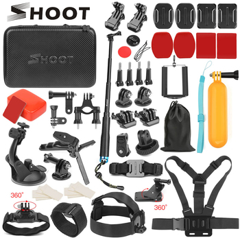 SHOOT Action akcesoria do kamery GoPro Hero 8 7 6 5 4 czarny Xiaomi Yi 4K Lite SJCAM SJ7 Eken H9 Go Pro uchwyt do Sony Nikon Set tanie i dobre opinie for GoPro Go Pro Action Camera Accessories Set SOOCOO Garmin Action Camera Akcesoria Zestawy Pakiet 1 ABS+Plastic+PC+Aluminum