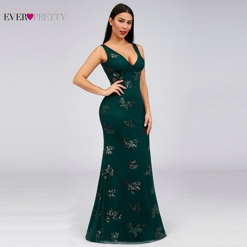 Elegant   Prom     Dresses   Long Ever Pretty Mermaid V-Neck Sequined Sleeveless Formal Women   Dresses   Sexy Sparkle   Prom     Dresses   2019