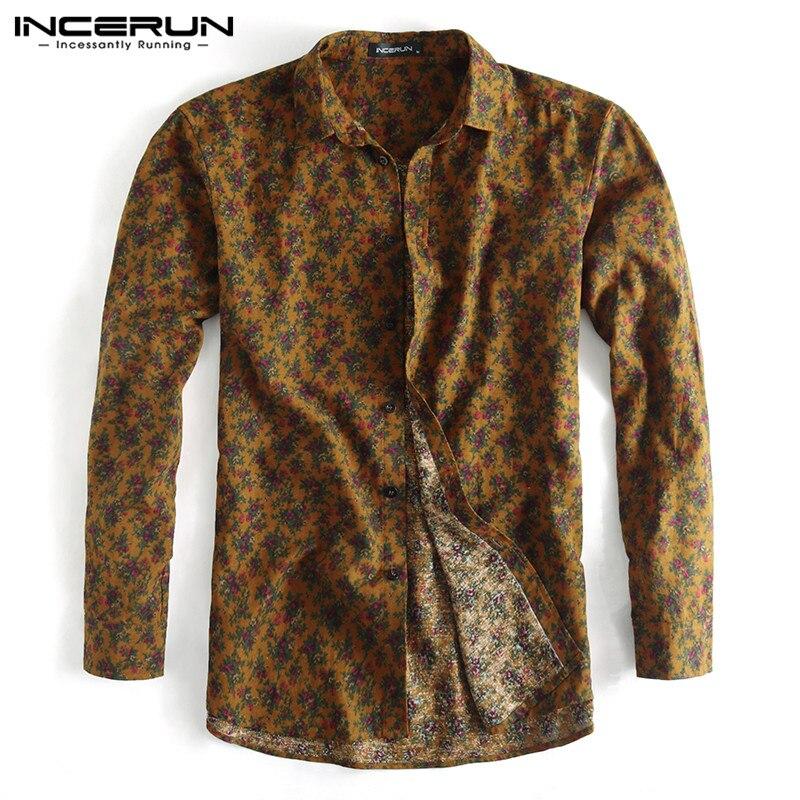 2019 Fashion Men Business Shirt Floral Print Button Turn-down Collar Slim Fit Long Sleeve Casual Brand Shirts Camisa INCERUN