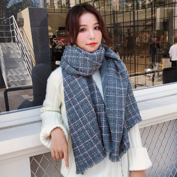 2019 Winter Grid Scarf For Women Thick Warm Imitation Cashmere Scarves Ladies Pashmina Shawls And Wraps Bandana Echarpe Female