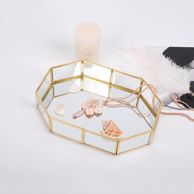 Лидер продаж, стеклянный поднос для хранения косметики, подарок на день рождения для девочек, подставка для хранения губной помады, лака для ногтей, ювелирных изделий, подставка для хранения кистей для макияжа-2