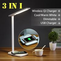 Adjustable Table Desk LED Lamp Light 10W Qi Wireless Charger for iPhone XR Fast Desktop Wireless Charging Pad for Samsung S10E