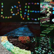 100pcs Luminous Stones Glow in Dark Garden Decor Road Outdoor Fish Tank Decoration Pebble Rocks Aquarium