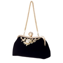 Mujer diamante perla bolso Flor de cristal estilo retro noche bolso boda fiesta novia embrague bolso monedero