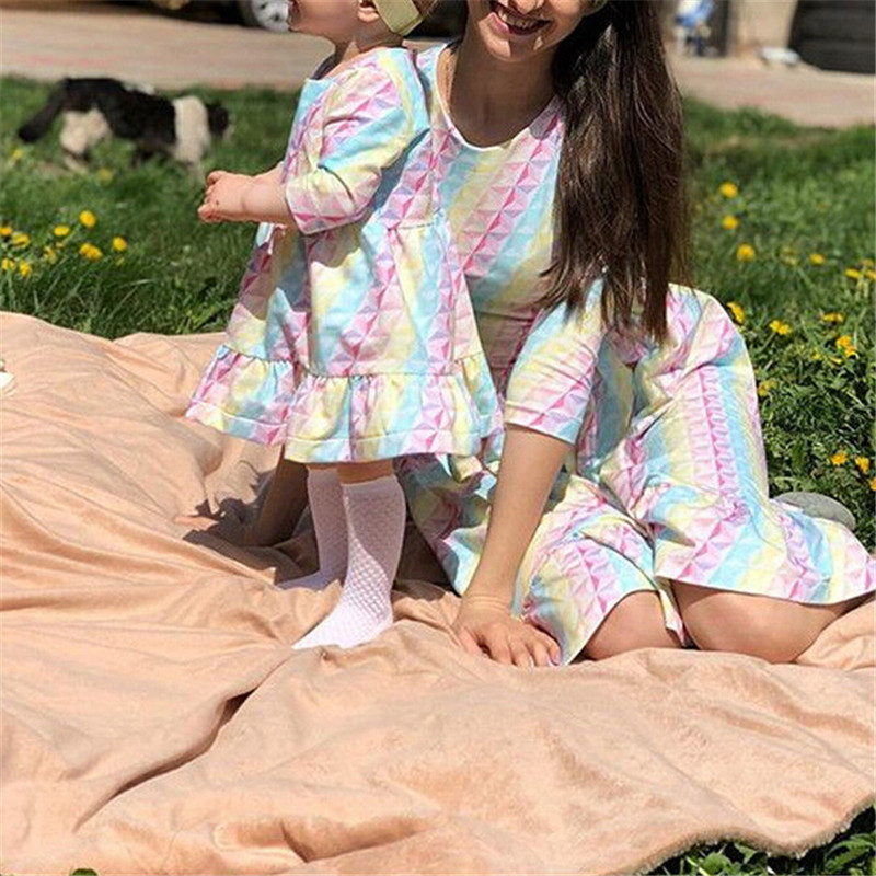 Parent Child Outfits Daughter-Dresses Family Matching Mommy Kids And Me Striped