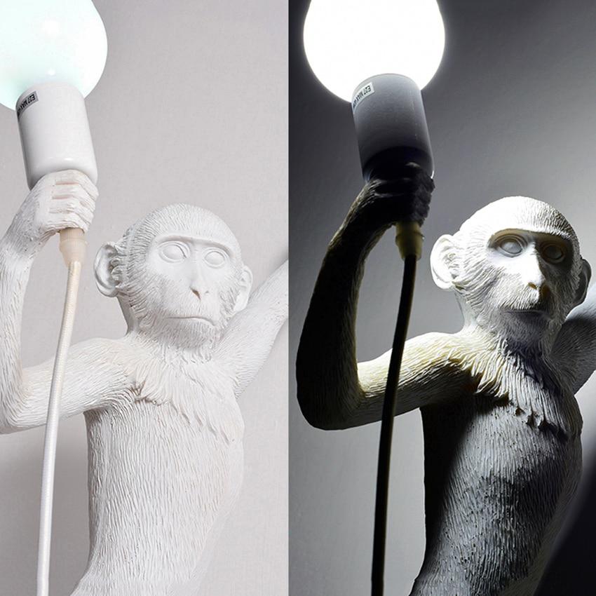 Nordic Green Led Monkey Lamp Resin Living Room Restaurant Bedroom Luminaire Pendant Lights Kitchen Fixtures Hanging Lamp in Pendant Lights from Lights Lighting