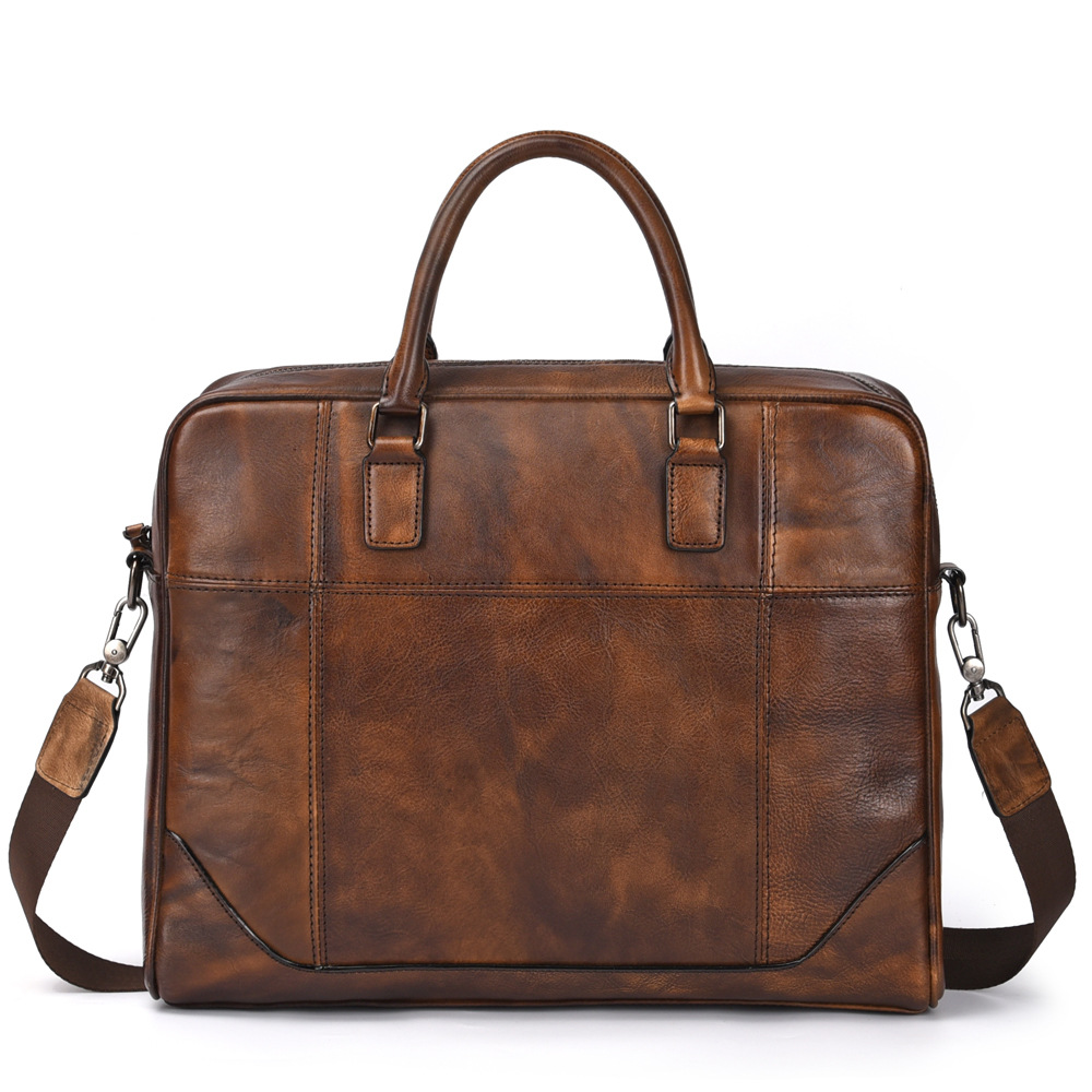 Genuine Leather Business Men Briefcase 14'' Laptop Bag Hot Sell Famous Brand Retro Design Male Cowhide Cross Body Shoulder Bags