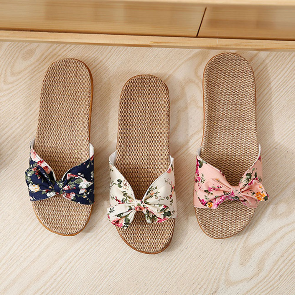 Hotsale Women Summer Slippers Breathable Linen Flip Flops Floral Bow Shoes Slides Flat Harajuku Slippers Ladies Cloth Shoes Bow in Slippers from Shoes