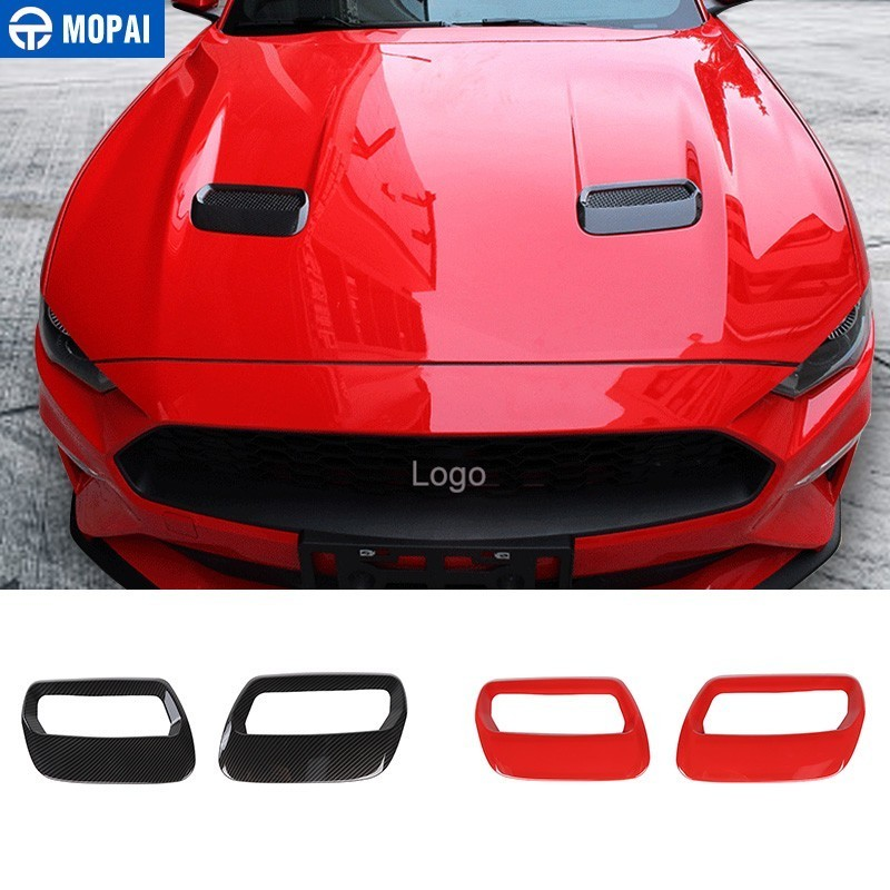 Autocollants de voiture MOPAI pour Ford Mustang 2018 + capot en fibre de carbone décoration de sortie d'air pour accessoires de voiture Ford Mustang