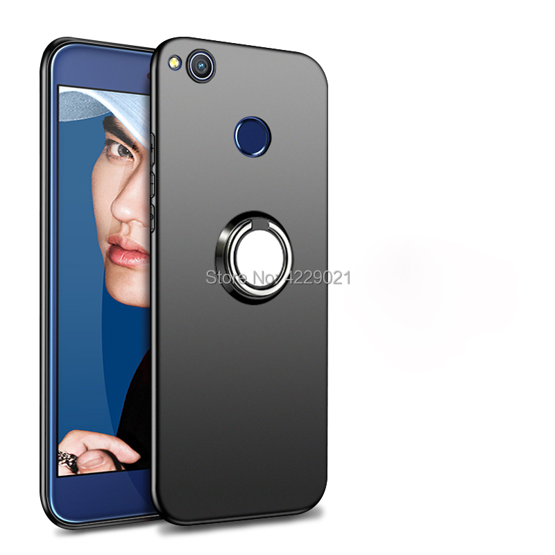 Luxury Case <font><b>Huawei</b></font> Honor 8 Lite Cover With Magnet Metal Ring Holder Stand Soft TPU Case <font><b>Huawei</b></font> Honor 8 Lite <font><b>PRA</b></font>-TL10 <font><b>PRA</b></font> <font><b>LX1</b></font> LX3 image