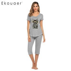 Image 1 - Ekouaer 女性ナイトウェアパジャマセット O ネック半袖プリントトップハーフパンツ夏パジャマスーツ女性ホームウェアの服