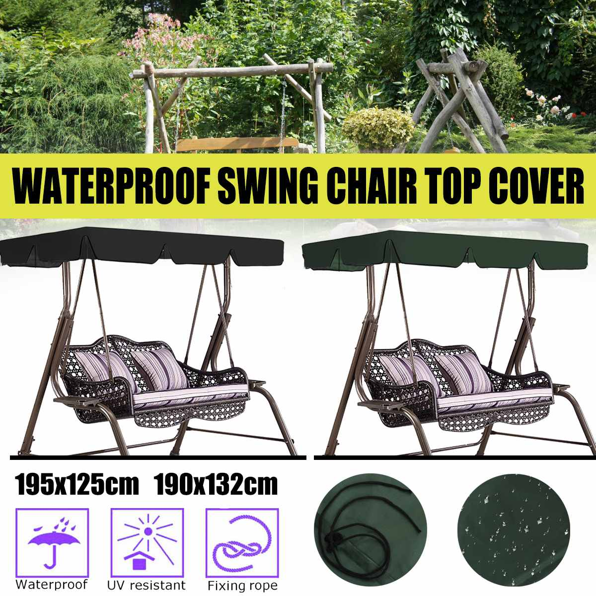 Us 11 27 52 Off 2 3 Seats Garden Swing Cover Shade Waterproof Swing Chair Top Cover Replacement Outdoor Indoor Hammock Tent Chair Shade Sail In