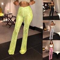 Сверкающие сексуальные брюки Клубная одежда женские расклешенные длинные брюки с пайетками с высокой талией Клубная одежда для вечерние в...
