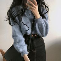 Lychee Girls Mohair Women Knitted Sweaters O Neck Long Sleeve Sweet Sweaters Autumn Winter Casual Loose Warm Sweater Pullover