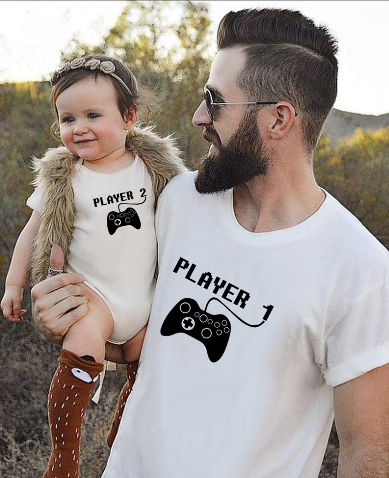 1pcs Player 1 Player 2 Shirts Daddy And Me Father Son Matching Shirts Dad Boy Match Tops Players Shirts Family Look Clothes