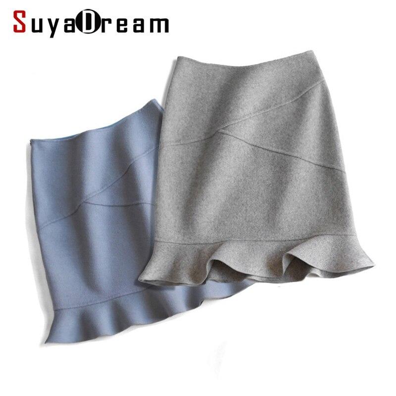 Women Wool Skirt 90 Wool 10 Nylon Office Lady skirts Mermaid Mini Winter Skirt For Women