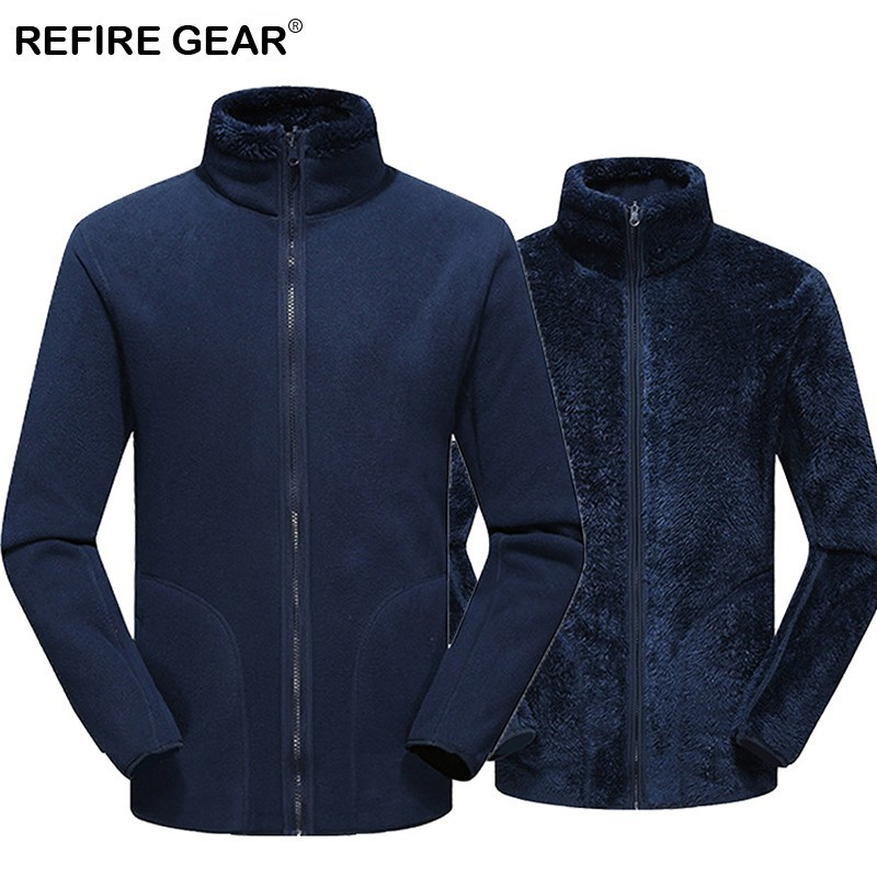 Refire Gear Autumn Winter Fleece Jackets Men Women Wear On Both Sides Jackets Outdoor Sports Camping Hiking Trekking Coats