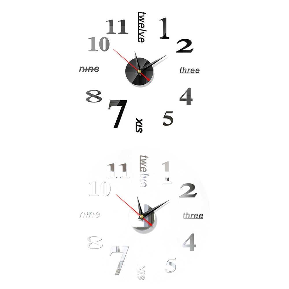 ساعة حائط بمرآة رومانية من الأكريليك على الموضة ساعة حائط بتصميم حديث ثلاثية الأبعاد ساعة حائط ديكورية كبيرة يمكنك صنعها بنفسك ديكور منزلي