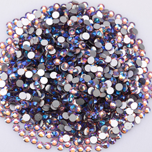 Glitter Crystal Rhinestones Decoration 3d Loose Glass For Nails Ab Non Hotfix Flatback Round Z189