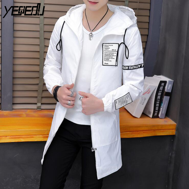 #2902 White/Black Coat Men With Hooded Preppy Style Hip Hop Jacket Streetwear Spring 2020 Thin Casual Jackets Plus Size 4XL 5XL
