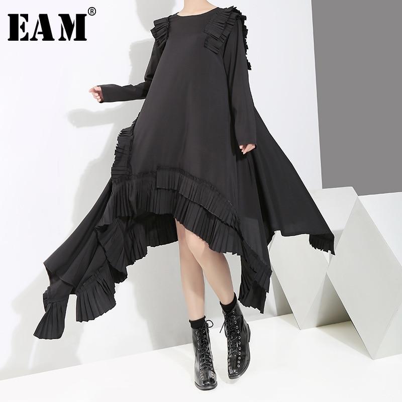 [EAM] 2019 New Spring  Summer Round Neck Long Sleeve Ruffles Split Joint Irregular Hem Loose Dress Women Fashion Tide JI045