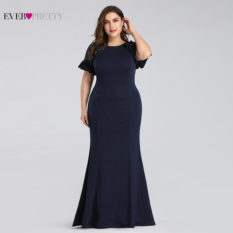 15191b83e1 Plus Size Evening Dresses Long 2019 Navy Blue Lace Sleeve Mermaid Wedding  Guest Gowns Ever Pretty