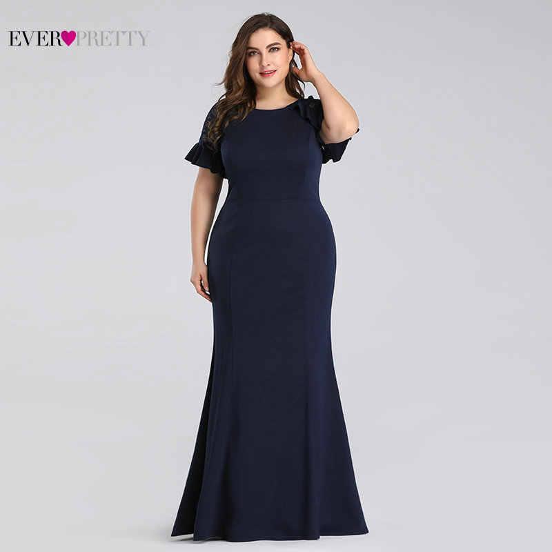 Plus rozmiar sukienki dla matki panny młodej 2019 kiedykolwiek całkiem elegancka granatowa syrenka z krótkim rękawem koronkowe suknie ślubne przyjęcie gościnne