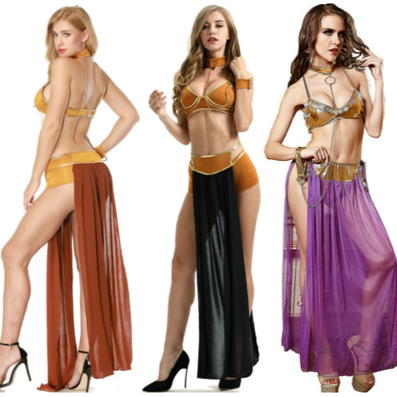 Anime Cosplay For Star Wars Sexy UnderWear Longuette Leia Slave Bra Skirt In Carnival Vestidos Latin Queen Costume Women Dress