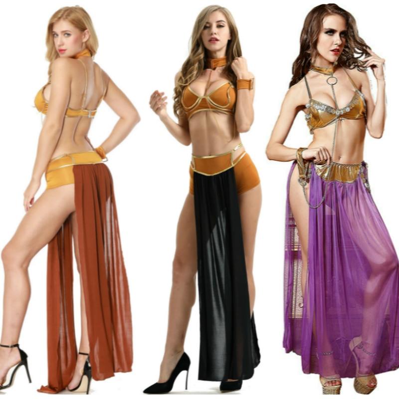 Anime Cosplay For Star Wars Sexy UnderWear Longuette Leia Slave Bra Skirt In Carnival Vestidos Latin Queen Costume Women Dress