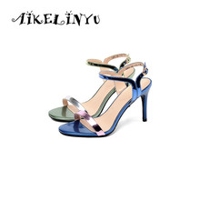 AIKELINYU Fashion Sexy Stiletto High Heel Shoes Women Sandals Girls Shoes Summer Sandals Shoes Ladies Mixed Colors Office Pumps egonery summer 2018 new fashion ladies sandals heel height 6 5 cm genuine leather mixed colors concise casual high heel shoes
