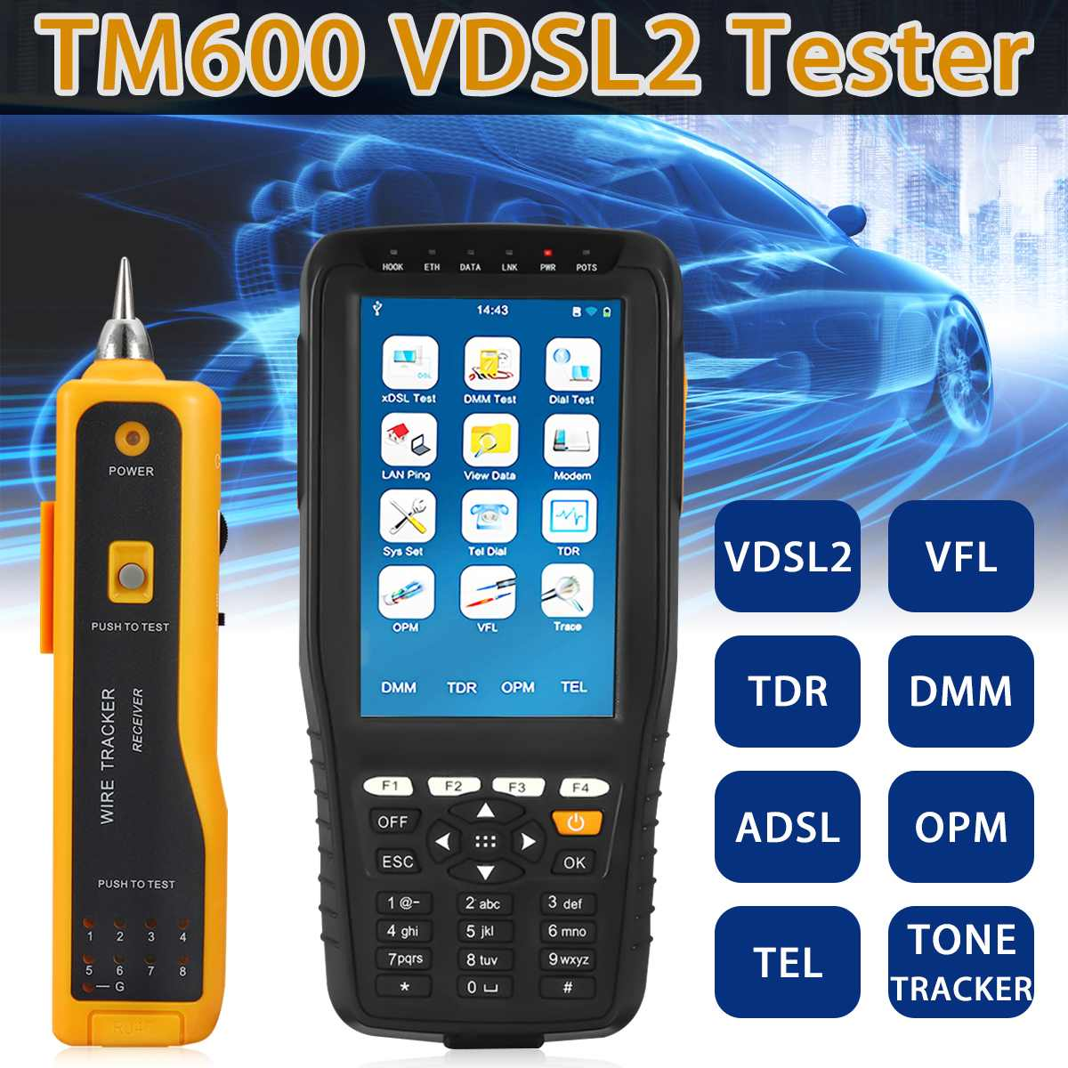 TM 600 VDSL VDSL2 Tester ADSL WAN LAN Tester xDSL Line Test Equipment with All Functions DSL Physical Layer Test