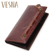 Vesna Genuine Leather Mens Wallet Newly Bifold RFID Blocking For Men Protection Credit Card Cowhide Zipper Long Purse