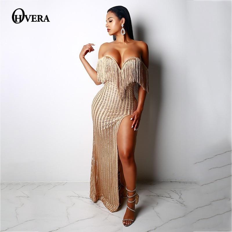 6a6aad7264 Ohvera Off Shoulder Mesh Sequin Party Dresses Women Maxi Long Dress Autumn  Backless Split Sexy Elegant Tassel Dress Vestidos