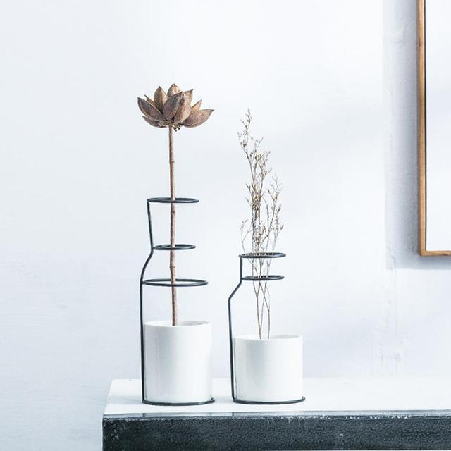 1Set Nordic Simple Style Marble Pattern White Ceramic Iron Art Vase Flower Pot Home Wedding Living Room Decoration Accessories 1