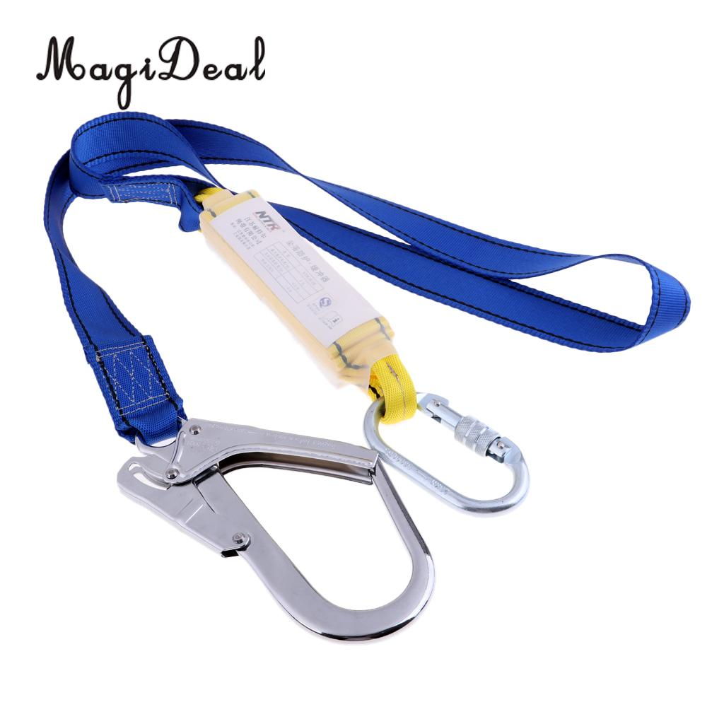 MagiDeal Climbing Roofing Safety Harness Belt Lanyard for Fall Protection Rescue Service with Alloy Buckle Blue 25KN