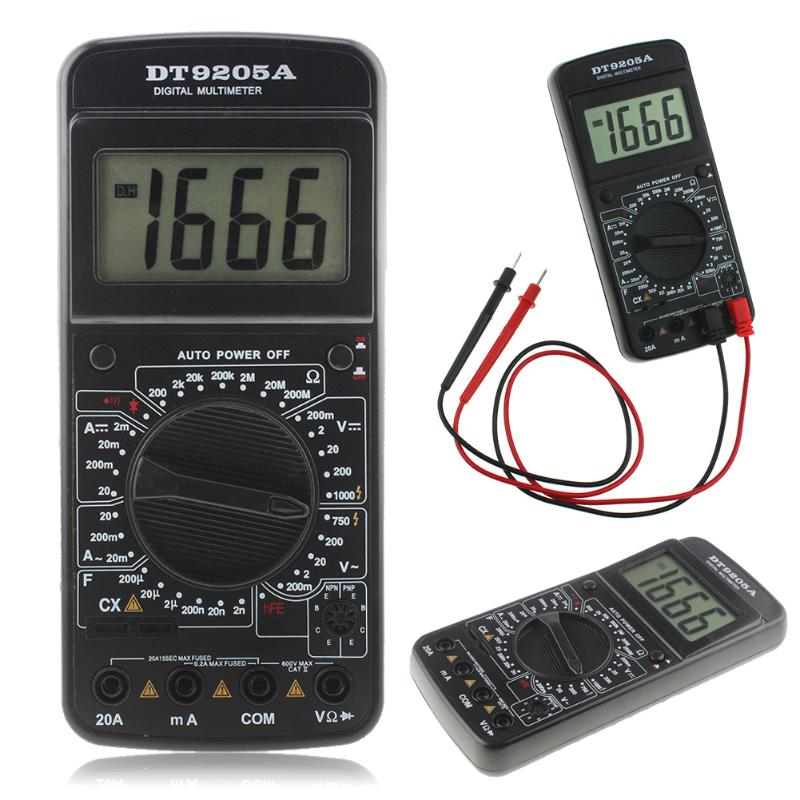 DT9205A Digital AC/DC LCD Display Electric Handheld Ammeter Resistance Capacitance Tester Meter Digital Multimeter Ammeter