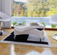 VidaXL Modern Coffee Table Adjustable Shape Coffee Table High Gloss Stretchable Living Room Sofa Side Table