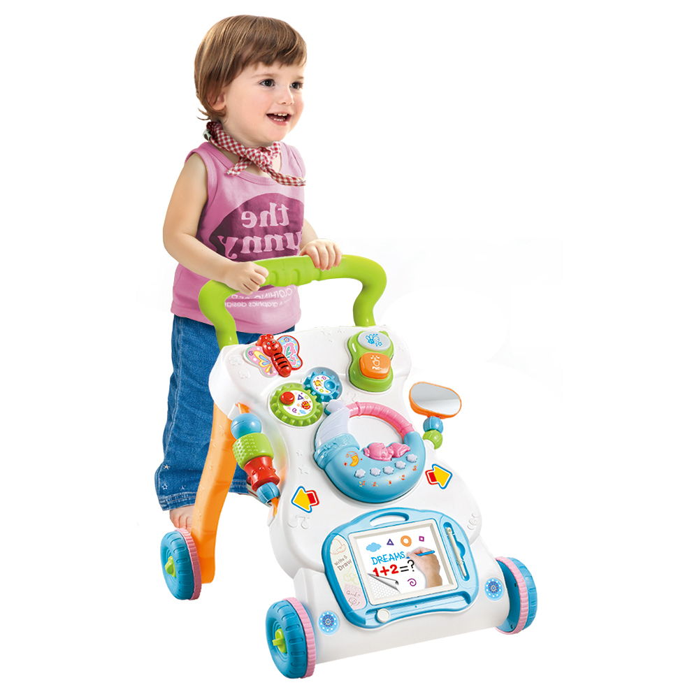 Multifunctional Toddler Trolley Sit to Stand ABS Safe Musical Walker with Adjustable Height Adjustable Speed for