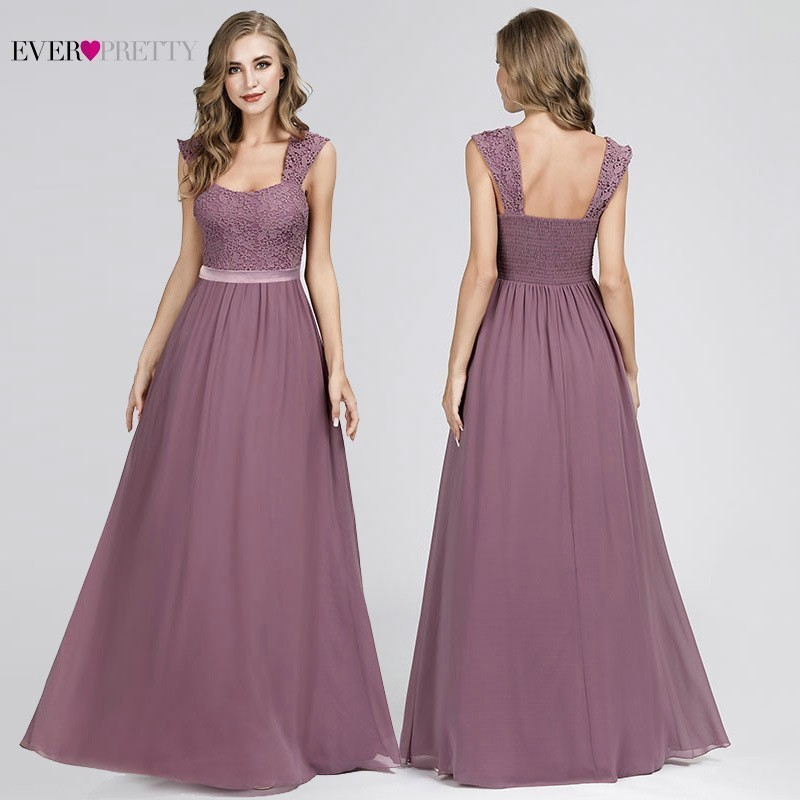 Dusty Pink   Bridesmaid     Dresses   Ever Pretty Sleeveless A-Line Lace Appliques Sexy Backless   Dresses   Purple Wedding Party   Dresses