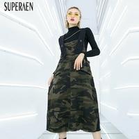 SuperAen Camouflage Strap Dress Female 2019 Spring New Fashion Wild Casual Fashion Women Sleeveless Dress Loose Pluz Size Dress