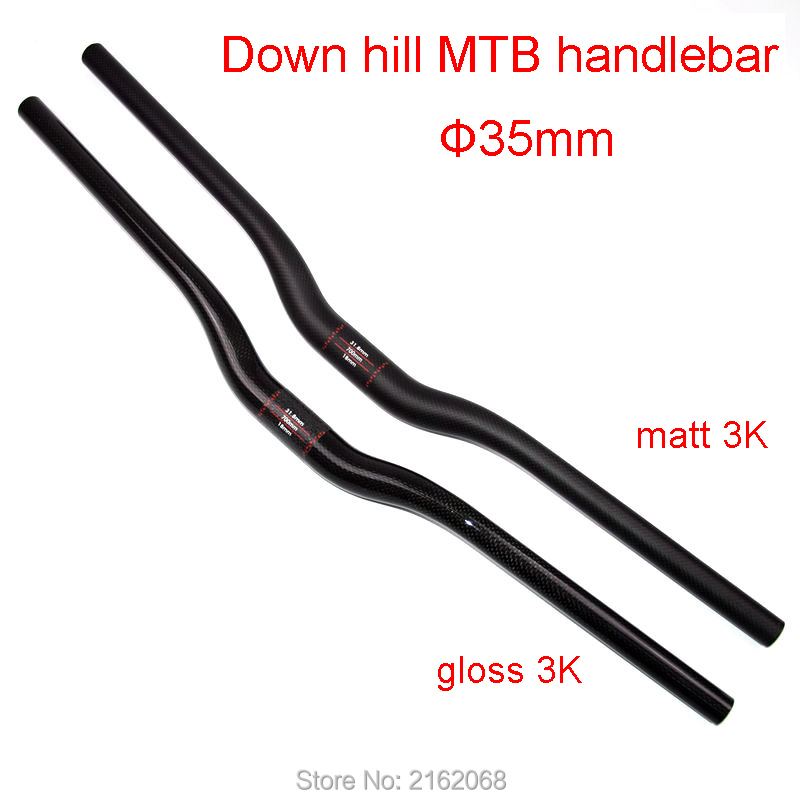 Newest Down hill bike 3K UD full carbon fibre handlebar carbon Downhill Mountain bicycle rise handlebars 35*720 820mm Free ship-in Bicycle Handlebar from Sports & Entertainment    1