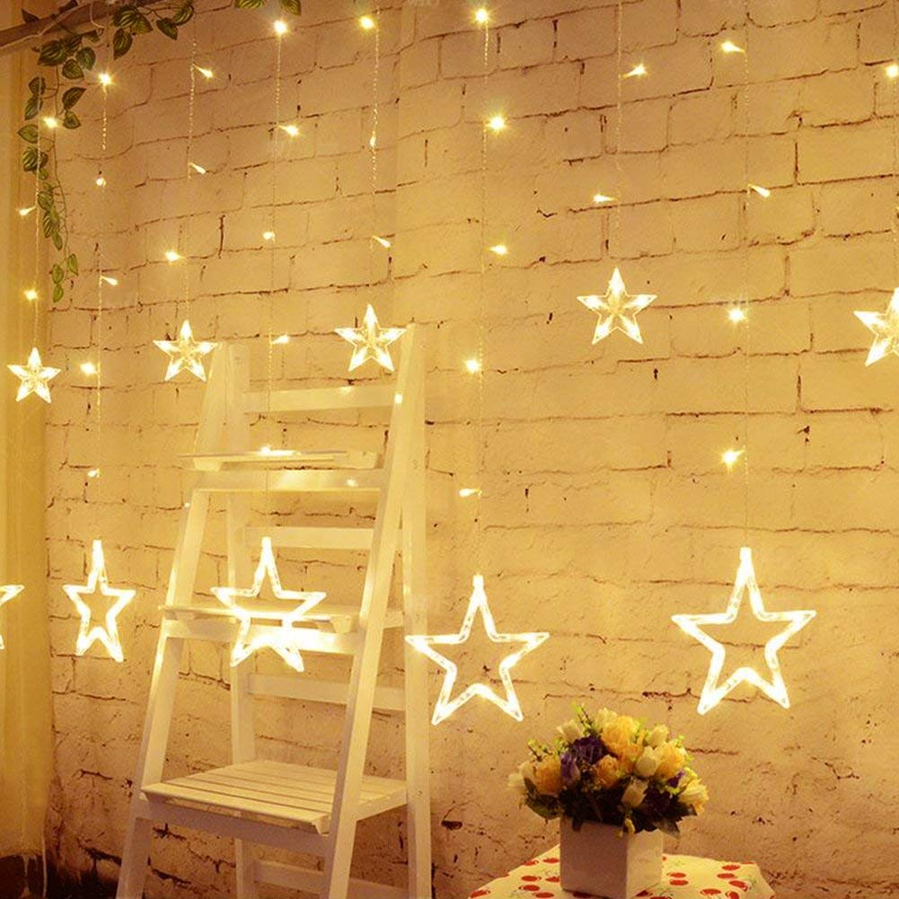 Star Shaped Led Lights String Curtain Window Bedroom Xmas Fairy Lamp Home Decor Button Battery Powered String