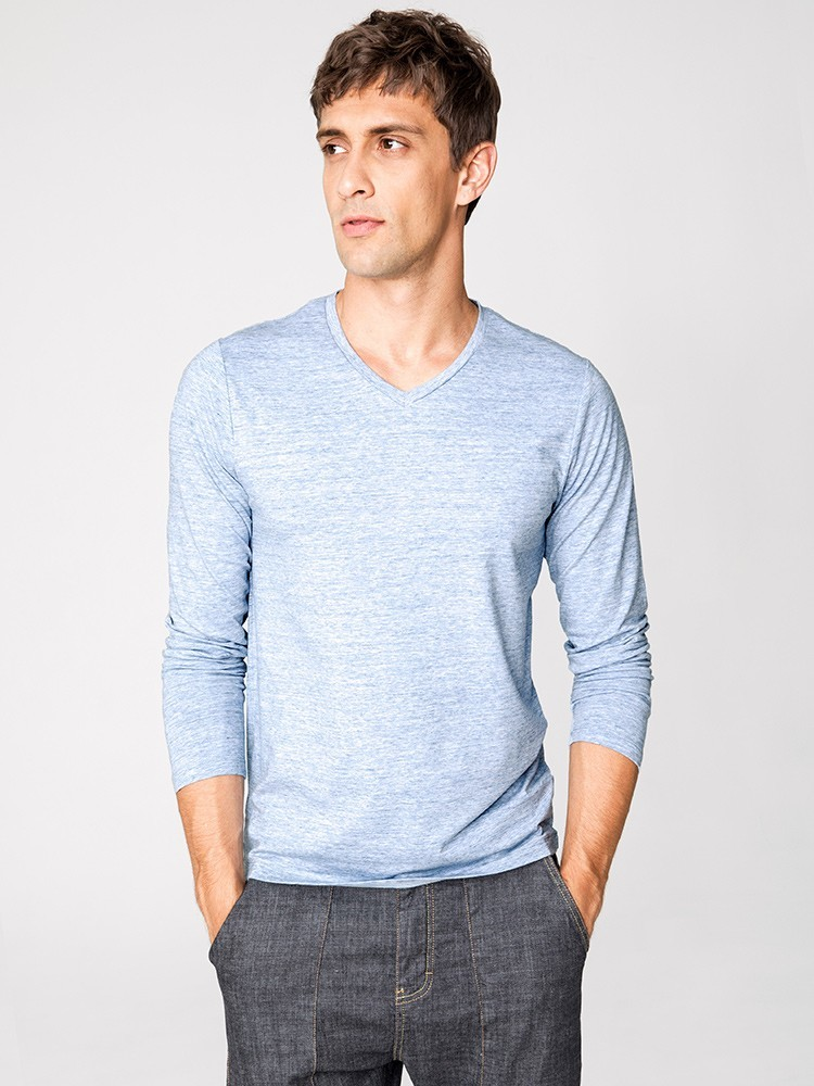 Autumn Men T Shirt Cotton V-Neck Blue Color For Man Casual Long Sleeve Slim Fit T-Shirt Male Wear 2018 New Tops Tee Shirt 268 4